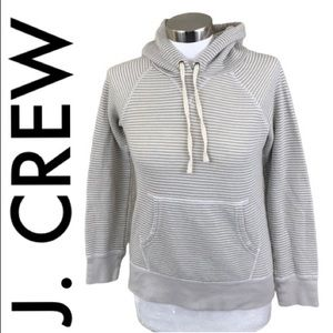 J. CREW GRAY WHITE SOFT HOODIE PULLOVER SIZE XS